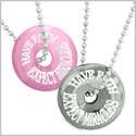 Amulets Have Faith Expect Miracles Love Couples Donuts Pink Simulated Cats Eye Hematite Pendant Necklaces