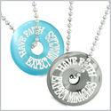 Amulets Have Faith Expect Miracles Love Couples Donuts Blue Simulated Cats Eye Hematite Pendant Necklaces