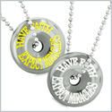 Amulets Have Faith Expect Miracles Love Couples or Best Friends Hematite Lucky Donuts Pendant Necklaces