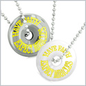 Amulets Have Faith Expect Miracles Love Couples Lucky Donuts White Simulated Cats Eye Hematite Necklaces