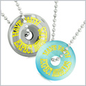 Amulets Have Faith Expect Miracles Love Couples Lucky Donuts Blue Simulated Cats Eye Hematite Necklaces
