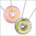Amulets Will Always Love You Forever Love Couples Coin Donuts Pink Simulated Cats Eye Hematite Necklaces
