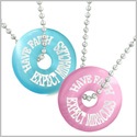 Amulets Have Faith Expect Miracles Best Friends Love Couples Pink Sky Blue Simulated Cats Eye Necklaces