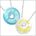 Amulets Have Faith Expect Miracles Best Friends Love Couples White Sky Blue Simulated Cats Eye Necklaces