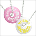 Amulets Have Faith Expect Miracles Best Friends Love Couples White and Pink Simulated Cats Eye Necklaces