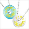 Amulets Have Faith Expect Miracles Best Friends Love Couples Sky Blue White Simulated Cats Eye Necklaces