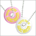 Amulets Have Faith Expect Miracles Best Friends Love Couples Pink and White Simulated Cats Eye Necklaces