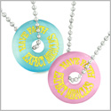 Amulets Have Faith Expect Miracles Best Friends Love Couples Sky Blue Pink Simulated Cats Eye Necklaces