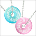 Amulets Life is Tough But I am Tougher Best Friends Love Couples Pink Blue Simulated Cats Eye Necklaces