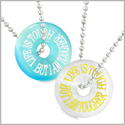 Amulets Life is Tough But I am Tougher Best Friends Love Couples White Blue Simulated Cats Eye Necklaces