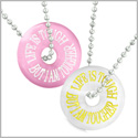 Amulets Life is Tough But I am Tougher Best Friends Love Couples White Pink Simulated Cats Eye Necklaces