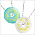 Amulets Life is Tough But I am Tougher Best Friends Love Couples Blue White Simulated Cats Eye Necklaces