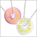 Amulets Life is Tough But I am Tougher Best Friends Love Couples Pink White Simulated Cats Eye Necklaces