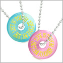 Amulets Life is Tough But I am Tougher Best Friends Love Couples Blue Pink Simulated Cats Eye Necklaces