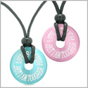 Amulets Life is Tough But I am Tougher Love Couples Best Friends Pink Blue Simulated Cats Eye Necklaces