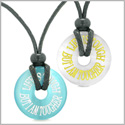 Amulets Life is Tough But I am Tougher Love Couples Best Friends White Blue Simulated Cats Eye Necklaces