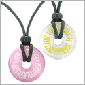 Amulets Life is Tough But I am Tougher Love Couples Best Friends White Pink Simulated Cats Eye Necklaces