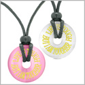 Amulets Life is Tough But I am Tougher Love Couples Best Friends Pink White Simulated Cats Eye Necklaces