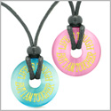 Amulets Life is Tough But I am Tougher Love Couples Best Friends Blue Pink Simulated Cats Eye Necklaces