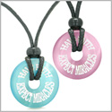 Amulets Have Faith Expect Miracles Love Couples Best Friends Pink Sky Blue Simulated Cats Eye Necklaces