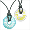 Amulets Have Faith Expect Miracles Love Couples Best Friends White Sky Blue Simulated Cats Eye Necklaces