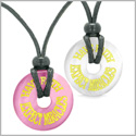 Amulets Have Faith Expect Miracles Love Couples Best Friends Pink and White Simulated Cats Eye Necklaces