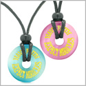 Amulets Have Faith Expect Miracles Love Couples Best Friends Sky Blue Pink Simulated Cats Eye Necklaces