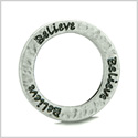 10 Pieces DIY Hammered Brass Reversible Inspirational Rings Stamped Believe Word 20mm Circles Lucky Charms