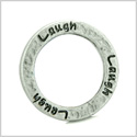 10 Pieces DIY Hammered Brass Reversible Inspirational Rings Stamped Laugh Word 20mm Circles Lucky Charms