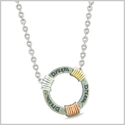 Inspirational Dream Ring Rose-Yellow-Gold-Silver-Tone Tri Color Amulet Pendant 18 Inch Necklace