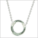 Inspirational Hammered Dream Ring Silver-Tone Positive Energy Amulet Pendant 18 Inch Necklace