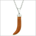 Italian Horn Peper Amulet Protection and Good Luck Powers Red Jasper Pendant 18 Inch Necklace