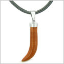 Italian Horn Peper Amulet Protection and Good Luck Powers Red Jasper Pendant Leather Necklace