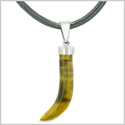 Italian Horn Peper Amulet Protection and Good Luck Powers Tiger Eye Pendant Leather Necklace