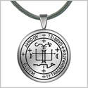 Guardian Archangel Gabriel Sigil Amulet Keep Me Safe and Positive Inscription Prayer Leather Necklace