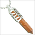 "Positive Energy Magic Powers Secret Amulet Crystal Point Lucky Charm Gold Stone Stainless Steel Pendant on 18"" Necklace"