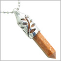 "Positive Energy Magic Powers Leaf Amulet Crystal Point Lucky Charm Gold Stone Stainless Steel Pendant on 18"" Necklace"