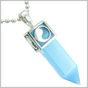 "Positive Energy Magic Powers Yin Yang Amulet Crystal Point Lucky Charm Sky Blue Cats Eye Stainless Steel Pendant 18"" Necklace"