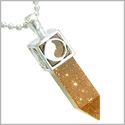 "Positive Energy Magic Powers Yin Yang Amulet Crystal Point Lucky Charm Gold Stone Stainless Steel Pendant on 18"" Necklace"