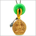 Kwan Yin Quan Fortune Car Charm or Home Decor Green Quartz Lucky Coin Donut Protection Powers Amulet