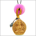 Kwan Yin Quan Fortune Car Charm or Home Decor Hot Pink Quartz Lucky Coin Donut Protection Powers Amulet
