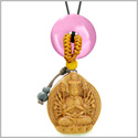 Kwan Yin Quan Fortune Car Charm or Home Decor Pink Simulated Cats Eye Lucky Coin Donut Protection Amulet