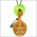 Kwan Yin Quan Fortune Car Charm or Home Decor Green Simulated Cats Eye Lucky Coin Donut Protection Amulet