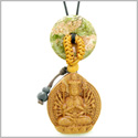 Kwan Yin Quan Car Charm or Home Decor Unakite Lucky Coin Donut Protection Powers Amulet