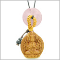 Kwan Yin Quan Fortune Car Charm or Home Decor Rose Quartz Lucky Coin Donut Protection Powers Amulet