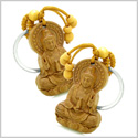 Amulet Kwan Yin Quan and Blooming Lotus Magical Powers Charms Feng Shui Symbols Keychain Set Blessings