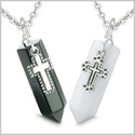 Amulets Yin Yang Energy Love Couple or Best Friends Holy Cross Crystal Points White Jade Black Onyx Pendants Steel Necklaces
