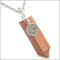 "Amulet Lucky Charm Coin Crystal Point Red Jasper Gemstone Believe and Positive Energy Pendant on 18"" Steel Necklace"