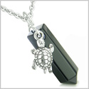 Amulet Turtle Lucky Charm Crystal Point Black Onyx Gemstone Spiritual and Positive Energy Pendant on 18� Steel Necklace