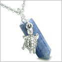 "Amulet Turtle Lucky Charm Crystal Point Sodalite Gemstone Good Luck and Positive Energy Pendant on 18"" Steel Necklace"